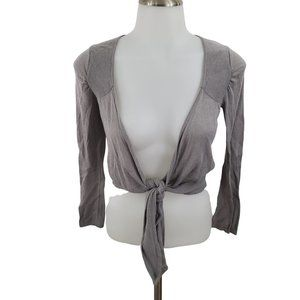 Athleta Cardigan S Gray Tie Knot Front Cropped Shr